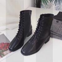 2018秋冬新款短靴复古低跟马丁靴女英伦风百搭时尚粗跟方头中筒靴SN1335 808-3黑色