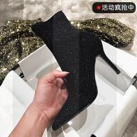 2018秋冬季新款显瘦弹力银色亮片高跟马丁靴细跟袜子靴黑色短靴女SN9547