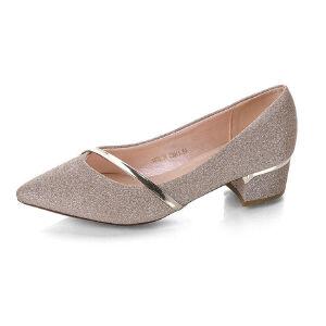 WARORWAR 2019新品YN2-288-2春季欧美粗跟鞋中跟女鞋潮流时尚潮鞋百搭潮牌单鞋女