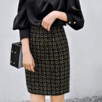 包臀裙冬季半身裙秋冬毛呢一步裙中长款职业裙子女高腰格子半身裙