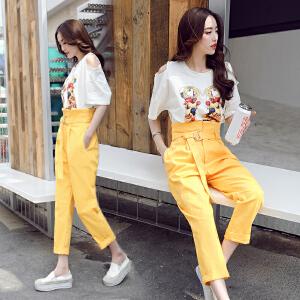 2018春装新款时尚圆领字母印花短袖T恤+百搭高腰显瘦七分裤套装女