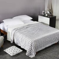 毛毯子双层仿羊羔绒毯办公室四季通用被子学生盖毯单人毯空调毯午休毯床单灰印花 灰印花