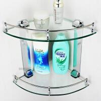 玻璃置物架浴室卫生间架卫浴挂件二层转角架脸盆收纳架不锈钢架