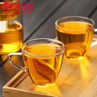 白领公社 茶杯 创意男女学生耐高温4只装大容量150ML带把随手随身小茶杯喝水杯子耐热玻璃功夫茶具