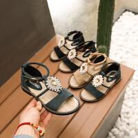 女童凉鞋韩版夏季小公主鞋学生女孩中大童罗马凉鞋潮