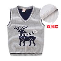 圣诞鹿双层儿童背心宝宝针织马夹秋装新款童装男童毛衣马甲潮xx