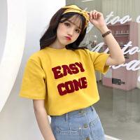 字母短袖T恤女学生2018早春新款半袖新款韩版学院风百搭宽松上衣