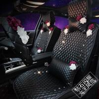 新款全包汽车坐垫四季通用卡通可爱女镶钻蔷薇花座椅皮革坐垫套 +2个腰靠