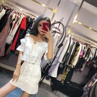 2018夏装韩版新款气质绑带蕾丝露肩上衣+包臀半身裙小心机套装女 白色