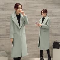 2018春装新款韩版大衣加厚毛呢外套女中长款廓形大衣宽松显瘦