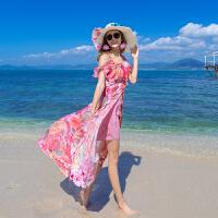 沙滩裙女海边露肩雪纺显瘦连衣裙吊带波西米亚长裙