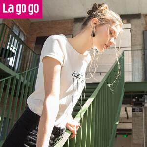 Lagogo2018春夏季新款时尚纯色圆领百搭白色小清新印花短袖T恤女HATT313G49