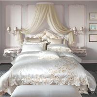 高端欧式四件套件1.8m巴洛克风酒店全棉床上用品六件套白色高档蕾丝床裙四件套