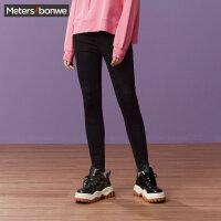 【全场2件2.5折,到手价:59.8】美特斯邦威牛仔裤女紧身小脚高腰系带韩版修身潮流秋装新款