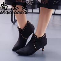 加绒高跟短靴女秋春新款欧美性感铆钉细跟真皮马丁靴尖头裸靴女靴