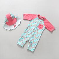 儿童泳衣女童宝宝婴儿连体防晒游泳衣套装冲浪服