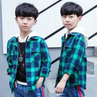 童装男童衬衫长袖秋季新款韩版儿童衬衣中大童格子春装潮