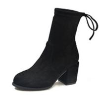 2018新款马丁靴子女短靴秋冬季英伦风粗跟骑士靴高跟切尔西袜靴女软底