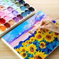 果冻水粉画颜料套装54色艺考美术绘画高级灰马力牌初学者小学生儿童用工具箱画画套装马丽盒黑板报颜料