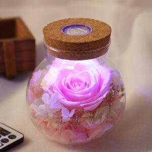 幸阁 进口花材礼盒发光许愿瓶玫瑰 BX243永生花情人节圣诞节生日礼物送女友创意礼品
