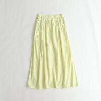 新女半身裙 纯色大摆裙显瘦清新波西米亚长裙 44A