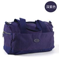 短途旅行包女男手提单肩休闲包尼龙包帆布小行李包斜跨健身运动包 深紫色 小