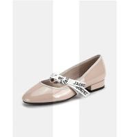 网红平底女单鞋粗跟浅口低跟蝴蝶结小皮鞋玛丽珍学院英伦芭蕾舞鞋SN6987 35 单层