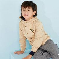 【满200减100】美特斯邦威旗下moomoo童装男童外套中大童短款韩版纯色连帽休闲风衣儿童男