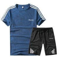 夏天速干短袖T恤运动套装拉链口袋短裤运动服跑步运动健身两件套935
