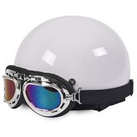 摩托车头盔踏板电动车头盔哈雷头盔男女太子盔安全帽半盔四季通用 均码