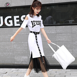 欧若珂  2018韩版网纱半身裙小仙女两件套连衣裙配腰带