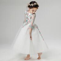 女童晚礼服儿童公主裙花童婚纱裙钢琴演出服小主持人走秀长袖夏季