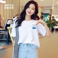 韩都衣舍2019韩版女装夏装新款宽松打底上衣卡通短袖T恤NW10353钕