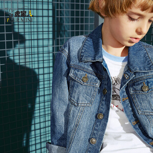 【2件5折】小虎宝儿童装男童牛仔外套夹克2018新款中大童韩版上衣儿童休闲春秋装