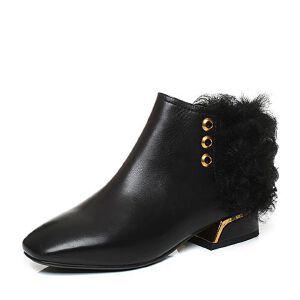 Belle/百丽2017冬时尚帅气油皮小牛皮女短靴BVN44DD7