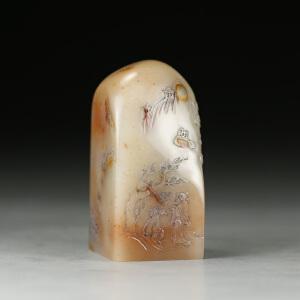 寿山巧色芙蓉石 精雕松下论道薄意印章 p2518