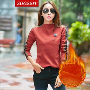 SOOSSN 2018新款韩版女士加绒加厚上衣修身超柔保暖长袖打底衫卫衣6108