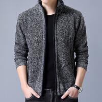 加绒加厚2018冬新男装外套男夹克立领保暖外套男夹克开衫羊绒 165/84A S
