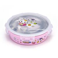 小学生便携三格饭盒 儿童圆形可爱不锈钢分格餐盘