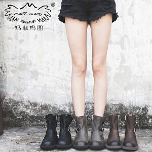 玛菲玛图欧洲站女鞋秋2017新款短靴侧拉链单靴复古皮带扣马丁靴女5751-8
