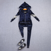 秋冬运动套装女时尚韩版刺绣长袖显瘦休闲三件套加厚