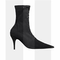欧美2018新款LIN同款网红尖头细跟短靴子中筒瘦瘦袜靴女百搭韩版SN0593