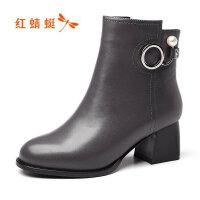【领�涣⒓�150】红蜻蜓女鞋冬新款短靴女粗跟百搭棉鞋珍珠短筒高跟女靴子