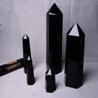 天然黑曜石柱子摆件 天然水晶 黑曜石水晶柱子 风水摆件六棱