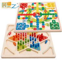 【2件5折】儿童早教益智木制二合一多功能智力游戏棋飞行棋五子棋双面3-6-12岁桌面游戏玩具