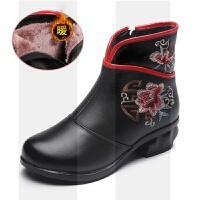 复古民族风女鞋真皮中老年棉鞋粗跟中跟妈妈鞋短靴中年软底加绒冬SN1530