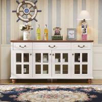 地中海餐边柜欧式田园实木酒柜客厅储物柜子现代简约厨房茶水碗柜