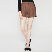 【2件1.5折价:67.4,18日0点可叠券】纯羊毛MECITY女装焦糖色通勤OL双面呢休闲短裤