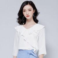 20180829050109521雪纺衫短袖女夏季上衣超仙甜美新款韩版宽松荷叶边喇叭袖气质女装 白色17121