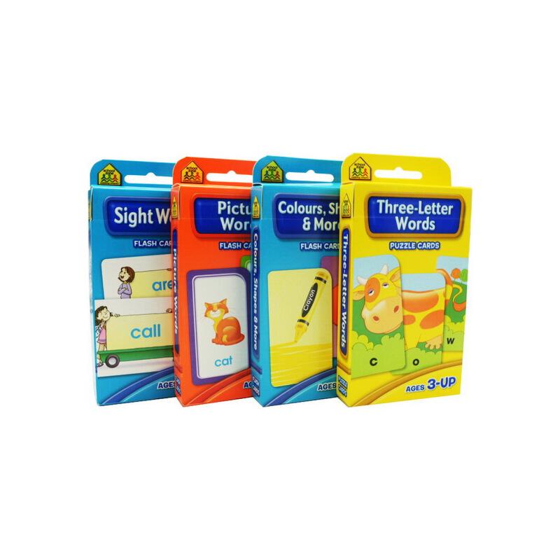 【词汇套装4盒】School Zone Flash Cards Words  Beginning Sight/pictuer/three-letter Words儿童启蒙早教英文单词词汇卡片字卡闪卡 由教育专家为不同年龄的儿童所编制,按年级编排循序渐进,内容适于学前幼儿至小学6年级的儿童。